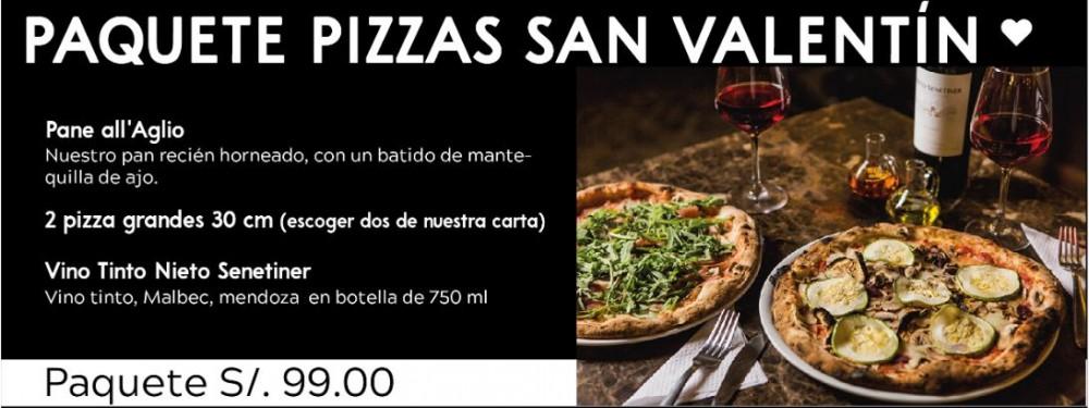 Duo Pizzas con Vino a S/. 99